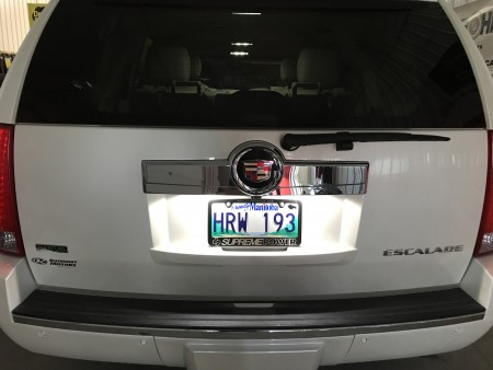Pro-Series LED License Plate Bulbs on a Cadillac Escalade